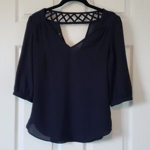 Navy V-neck Blouse